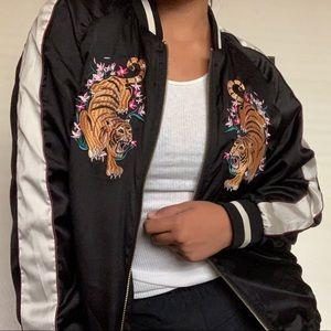 Urban Outfitters Jackets & Coats - Tiger Embroidered Satin Bomber Jacket